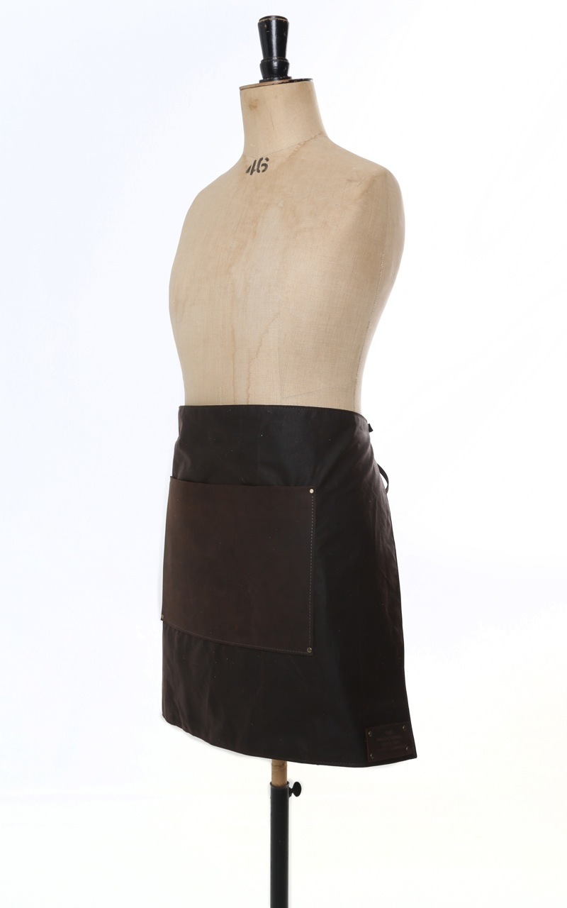 Leather Amp Waxed Cotton Half Apron Brown The